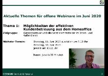 """Webinar """"Möglichkeiten der Kundenbetreuung aus dem Homeoffice"""""""